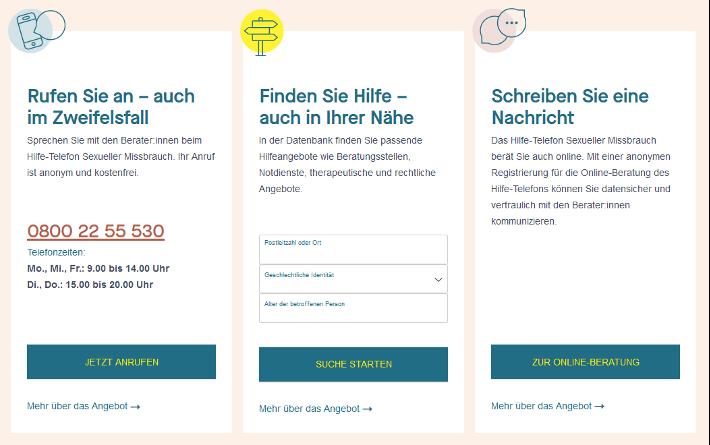 Darstellung der Schnellfunktionen mit Zugang zum Hilfe-Telefon, den Hilfe-Angeboten und der Online-Beratung des Hilfe-Telefons
